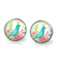 Whimsy Bird Stud Back Glass Earrings