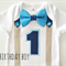 1st Birthday Boys Bow Tie & Suspender Number 1 Party Onesie & Party Hat