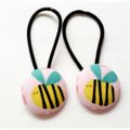 Fabric Covered Button Hair  Ties. BUZZ BEES design. yellow black pink LARGE