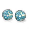 Whimsy Deer Stud Back Glass Earrings