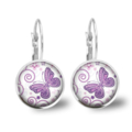 Butterfly Lever Back Glass Earrings