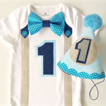 1st Birthday Boy Onesie & Party Hat  Cake Smash Blue Tan Navy