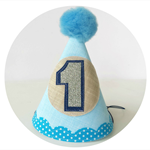 Baby Boy's First Birthday party hat . Blue, Tan, Navy