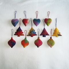 12 Felted Christmas Decoration 4 baubles 4 trees 4 hearts