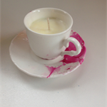 Soy Vanilla Bean Tea Cup Candle - Rosie Pink