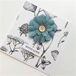 Birthday with love blue  burlap flower botanical paper friend female mum card