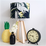 Fabric Lampshade with Bird of Paradise Print and Wooden Base