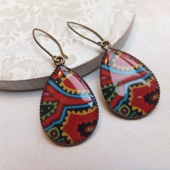 Red, Aqua, Mustard and Green Print Earrings