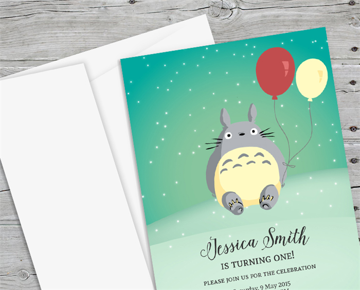 10 x Birthday Party Invitation Studio Ghibli Totoro Birthday – Totoro Birthday Card