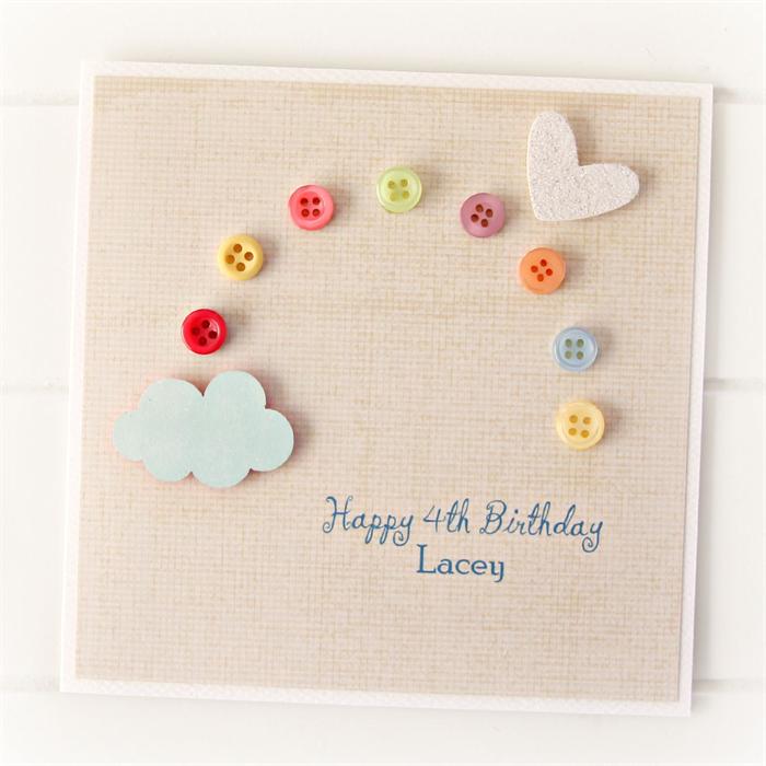 Any Age Birthday Card Rainbow Personalised Children Kids Custom 1 2 3 4 5 6 7 8