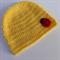 crochet baby beanie | yellow with ladybug | shower gift | newborn - 3+ months