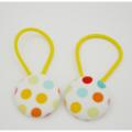 Fabric Covered Button Hair  Ties. POLKA DOT design. Rainbow, yellow