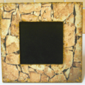 Frame, picture, square, stacked stone pattern, gold trim,black