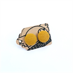 Mustard Yellow Fabric Button Stud Earrings