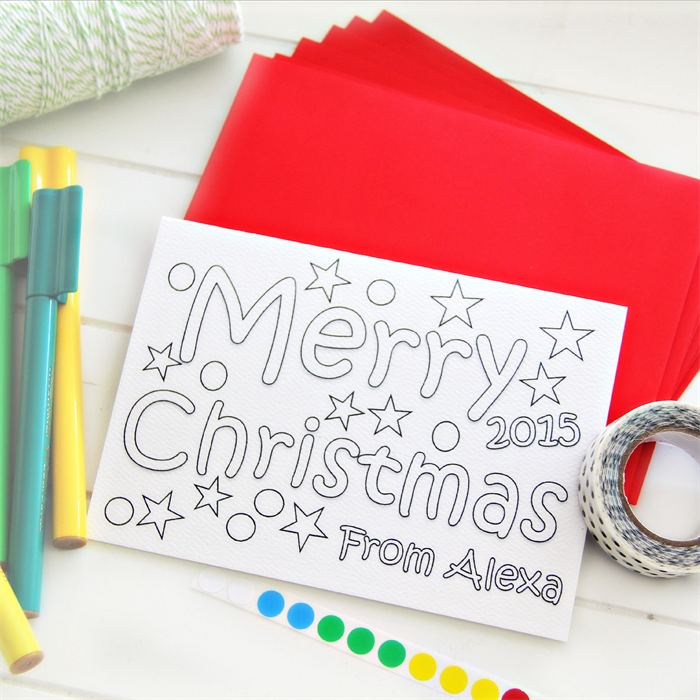 6 Colour in Christmas cards personalised custom made class school ...