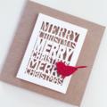 SET OF 4 Merry Christmas laser cut kraft red glitter bird friend teacher card