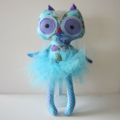 Blue Soft Fabric Owl Doll