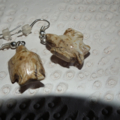 Picturestone Doves.. SALE Carved earrings Natural beautiful brown stone rock