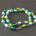 Sterling silver long beaded necklace in blue and green. Eco friendly silver.