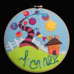 HOME/ Felt / Hoop Art/ approx 21cm across OOAK