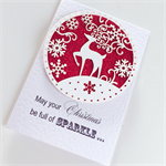 SET OF 5 christmas red glitter lasercut reindeer snowflakes teacher friend card
