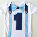 1st Birthday Onesie Boys Bow Tie and Suspenders Blue & Navy