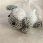 Crocheted sheep baby mobile