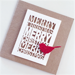White Merry Christmas laser cut kraft red glitter bird teacher thank you card