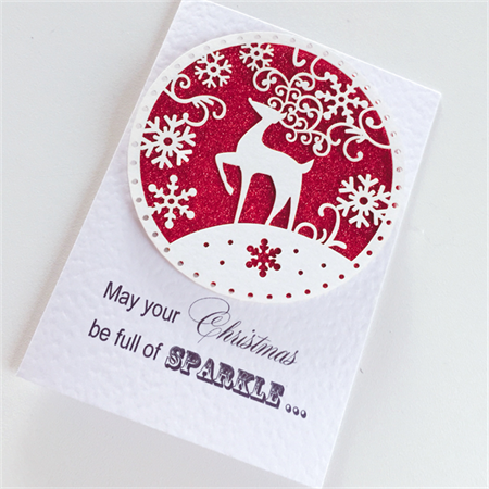 SET OF 6 christmas red glitter lasercut reindeer snowflakes teacher friend card