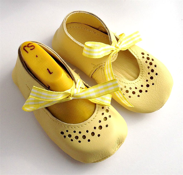 b100b6440cc29 Handmade Leather Baby Girl Shoes - Yellow soft sole Mary Jane shoes ...