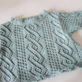 Aqua Tunic Top - 0-3 months - Hand knitted in Cotton