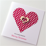 Red white polka heart wooden Merry Christmas friend teacher her him card