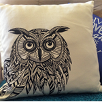 Zentangled Owl Cushion
