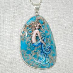 Mermaid Art Pendant Hand Painted Sea Sediment Jasper OOAK Jewelry