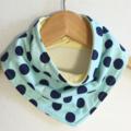 Blue Dots ORGANIC & Cotton Bandana bib Absorbent with STAY-DRY backing