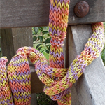 simple knitted summer scarf made from hand dyed linen yarn