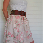 Ladies pink skirt, vintage cotton, size 12, upcycled, vintage fashion, unique