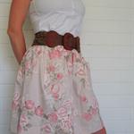 Ladies pink skirt, vintage cotton, size 12, upcycled, vintage fashion, unique