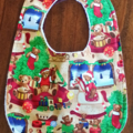 Christmas Bib and Burp cloth set - Teddy Bear motif - Small
