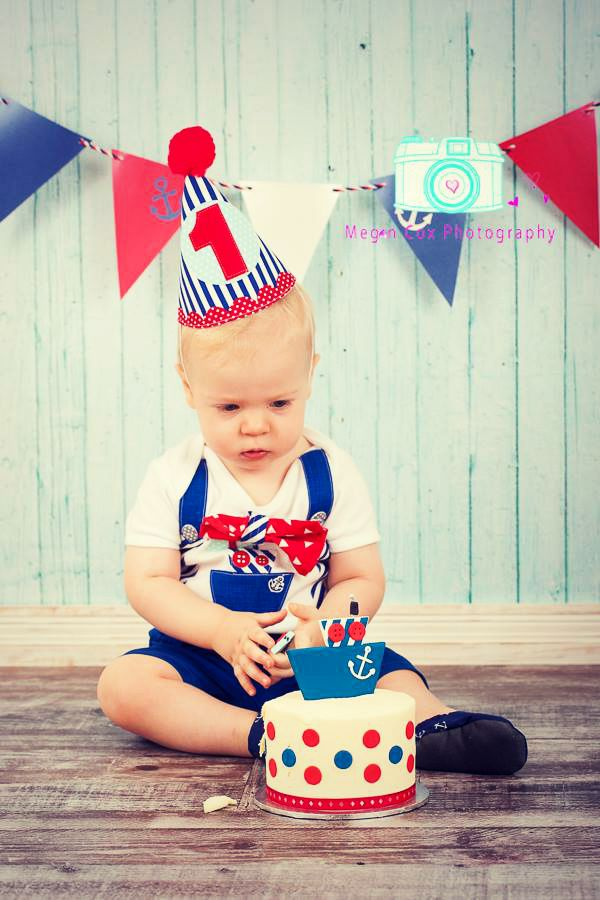 Boys 1st Birthday Party Hat Red White Blue Nautical Theme