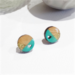 Cherry Wood Circle Earrings with Heart Cut Out - Pale Aqua & Gold Glitter