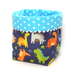"Reversible Fabric Bucket - ""Dinosaurs & Turquoise Spots"" (15cm sq base)"