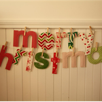 Christmas Banner - red and cream fabric merry christmas letters, pegs in bag
