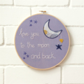 love you to the moon | hoop art | nursery room wall decor