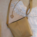 Brushed Gold faux leather vinyl Cross Body Bag handbag