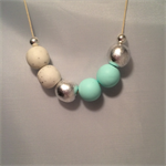 Mint Green, White & Silver Polymer Clay Necklace