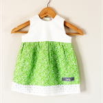 Size 1 Green and White Bird Dress