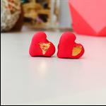 Love heart polymer clay stud earrings