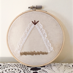 Lace teepee in the grass | embroidery hoop wall hanging