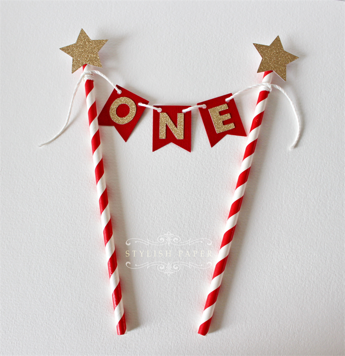 Red And Gold Glitter ONE Cake TopperONE Bunting 1st Birthday Topper